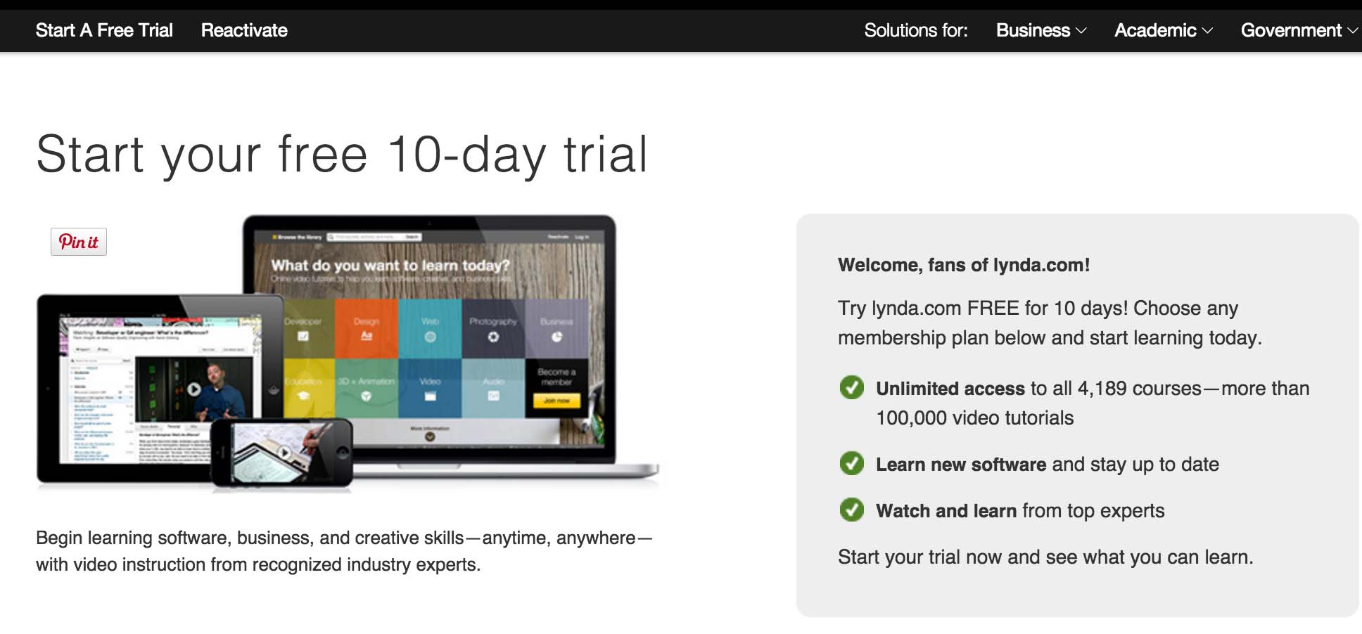 lynda com 30 days free trial get unlimted access