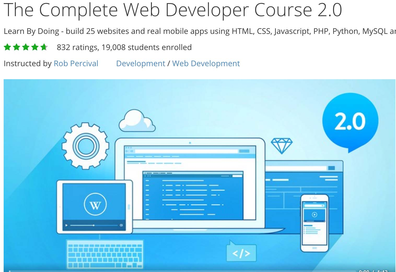 Complete Web Developer Course 2.0 udemy coupon